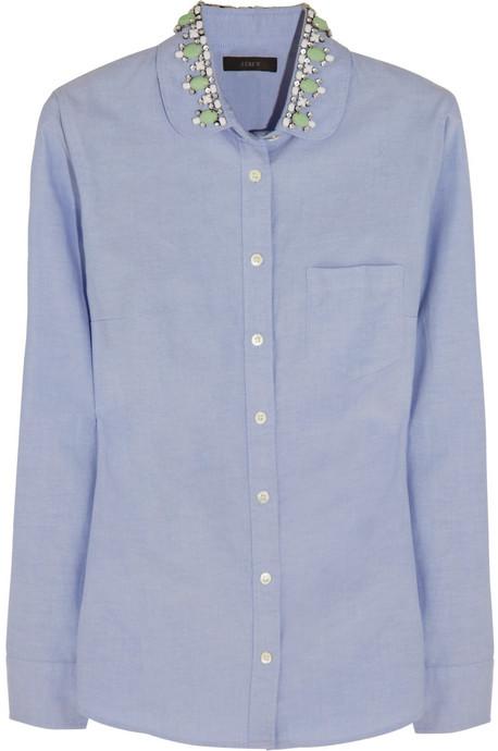 J.Crew Embellished cotton-piqué shirt