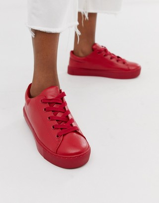 Monki faux leather trainers-Red