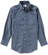 Class Club Big Boys 8-20 Denim Crosshatch Woven Shirt