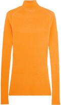 Victoria Beckham Ribbed Silk And Cotton-blend Turtleneck Sweater - Orange