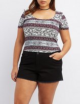 Charlotte Russe Plus Size Paisley T-Back Top