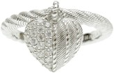 Judith Ripka Sterling Diamonique Heart Charm Ring