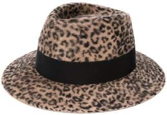 Saint Laurent textured leopard print hat