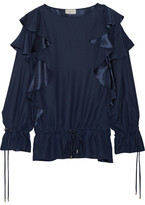 Lanvin Ruffled Crepe Blouse - Midnight blue