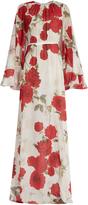 Giambattista Valli Rose-print cape-back silk-georgette gown