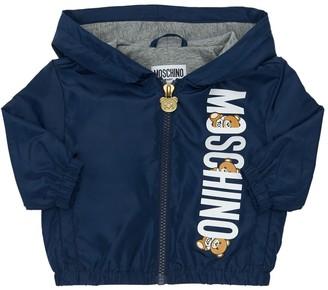 Moschino Logo Printed Nylon Rain Coat