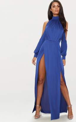 PrettyLittleThing Navy High Neck Double Extreme Split Maxi Dress