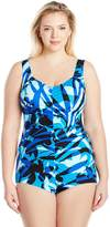 Maxine Of Hollywood Women's Plus Size Printed Spa V-Neck Shirred Girl Leg One Piece Swimsuit