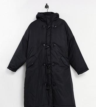 Collusion Unisex maxi duffle coat in black
