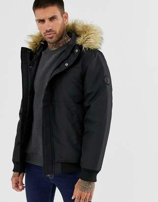 ONLY & SONS short parka with removable faux fur hood-Black