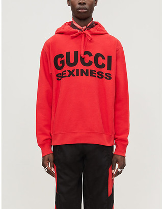 Gucci Sexiness text-print cotton-jersey hoody