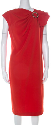 Escada Melon Red Crepe Gathered Fabric O-Ring Detail Cap Sleeve Dress M