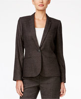 Calvin Klein One-Button Plaid Jacket