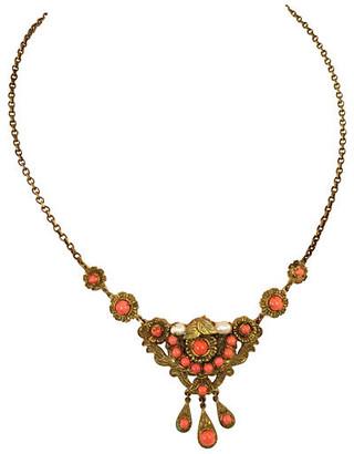 One Kings Lane Vintage Edwardian Filigree Coral Necklace - Neil Zevnik