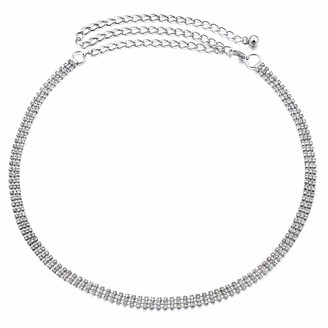 Wedding Decor Silver Women Metal Chain Charm Belt with 3 Row Diamante Rhinestone for Fastening Stylish Clasp Fashion Accessories Casual Formal and Western Outfits 107cm