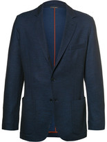 Loro Piana Blue Slim-fit Cotton And Virgin Wool-blend Piqué Blazer