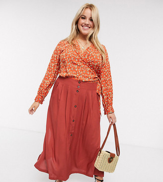 ASOS DESIGN Curve button front midi skirt in rust
