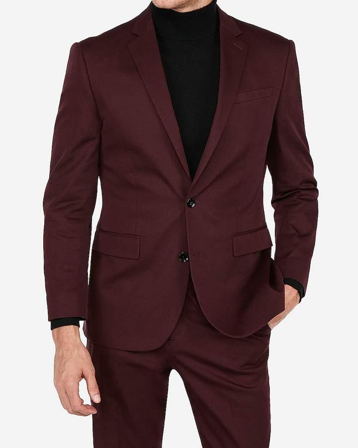 Express Classic Burgundy Stretch Cotton-Blend Suit Jacket