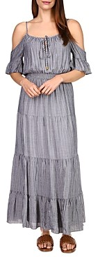 MICHAEL Michael Kors Metallic Striped Maxi Dress