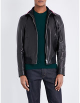 Bally Contrast Collar Leather Jacket
