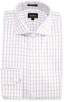 Neiman Marcus Classic-Fit Regular-Finish Check Dress Shirt, White/Gray