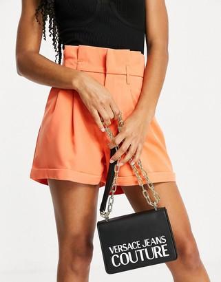 Versace patent logo chain strap bag in black