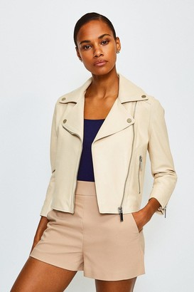 Karen Millen Shrunken Leather Biker Jacket