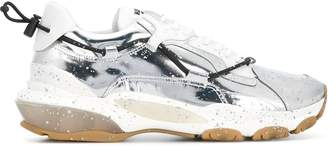 Valentino Garavani garavani spray-painted bounce sneakers silver