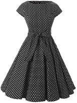 Ensnovo Womens 1950s Polka Dot Cap Sleeve Vintage Rockabilly Swing Party Dress