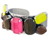 Scooter SCC50516082-Miami Large Cuff Bracelet Metal Multi-Crystal, Pink/Yellow