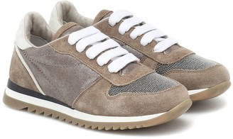 BRUNELLO CUCINELLI KIDS Embellished suede-trimmed sneakers