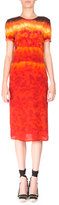 Altuzarra Rolled Short-Sleeve Silk Tie-Dye Dress, Ceramic Orange