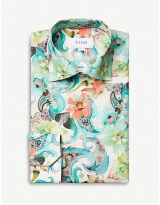 Eton Floral-print slim-fit cotton-twill shirt