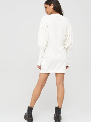 boohoo Puff Sleeve Extreme Cuff Sweatshirt Dress - White