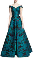 Zac Posen Off-the-Shoulder Floral Jacquard Gown, Teal