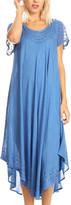 Sakkas Women's Casual Dresses Ocean - Ocean Blue Embroidered Curved-Hem Midi Dress - Women