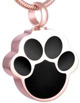 constantlife Paw Shape Stainless Steel Cremation Pendant Necklace Dog Cat Pet Memorial Funeral Casket Ashes Keepsake Urn Necklace