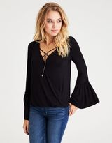 American Eagle Outfitters AE Soft & Sexy Bell Sleeve Surplice Top