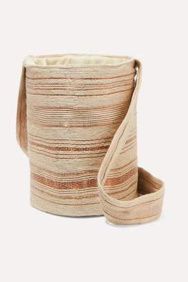 BEIGE Verdi VERDI - Woven Raffia And Copper Bucket Bag