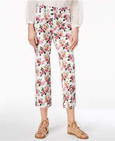 Marella Cotton Blend Floral-Print Slim Ankle Pants