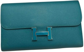 Hermes Constance Turquoise Leather Clutch bags