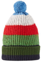 Gucci Striped Knitted Beanie Hat, Green/Blue