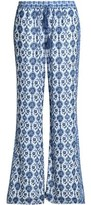 Joie Printed Silk-Crepe Wide-Leg Pants