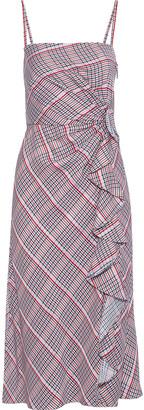 Prabal Gurung Ruffled Checked Jacquard Midi Dress