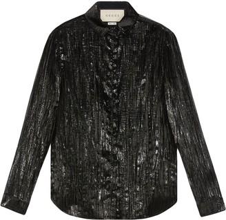 Gucci Long-Sleeve Lame Shirt