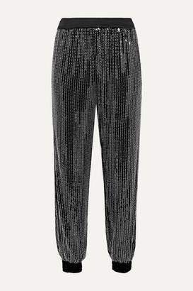 HANEY Cassie Embellished Stretch-tulle Track Pants - Black