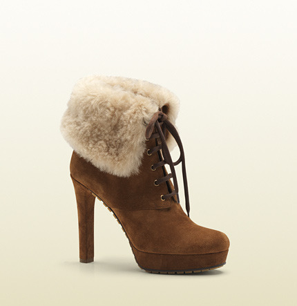 Gucci Anett Shearling Cuff Lace-Up High Heel Platform Bootie
