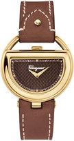 Salvatore Ferragamo 37mm Buckle Watch w/ Diamonds & Leather Strap, Brown