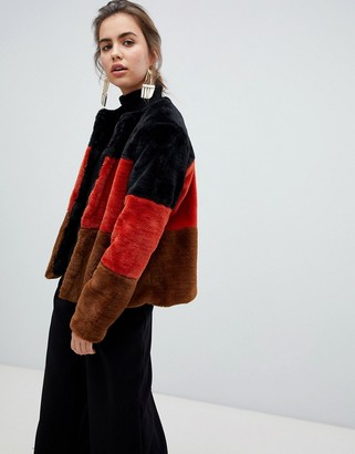 B.young stripe faux fur coat