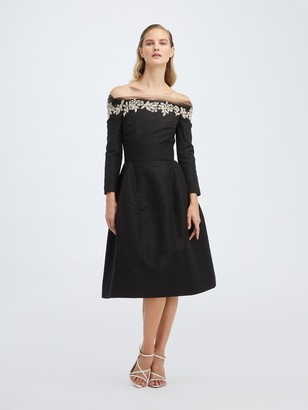 Oscar de la Renta Silk Embroidered Dress